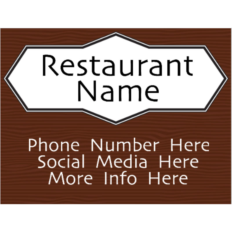 Bar and Grill Wood - 18x24 Yard Sign