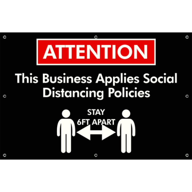 Social Distance - 24x36 Banner - Covid